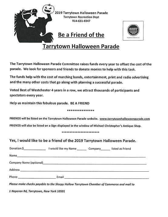 Be a Friend to the Tarrytown Halloween Parade Sponsor Form