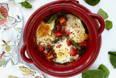 Baked eggs with marinara and veggies