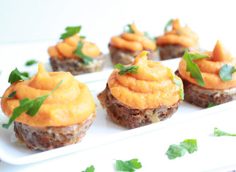 "Meatloaf ""cupcakes"" with sweet potato whip"