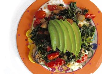 Over-easy eggs with veggies & avocado