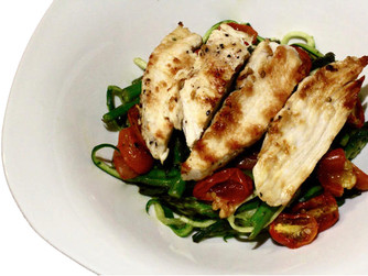 Pesto zoodles with grilled chicken, asparagus & roasted tomatoes