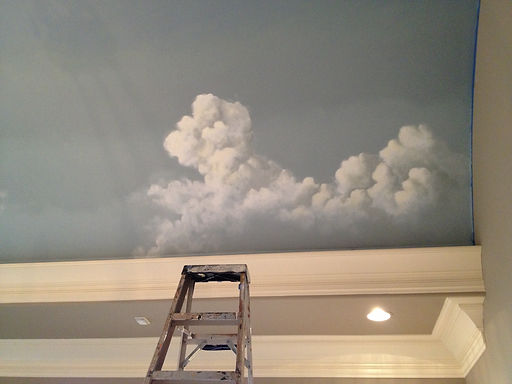 Couds painted on a ceiling