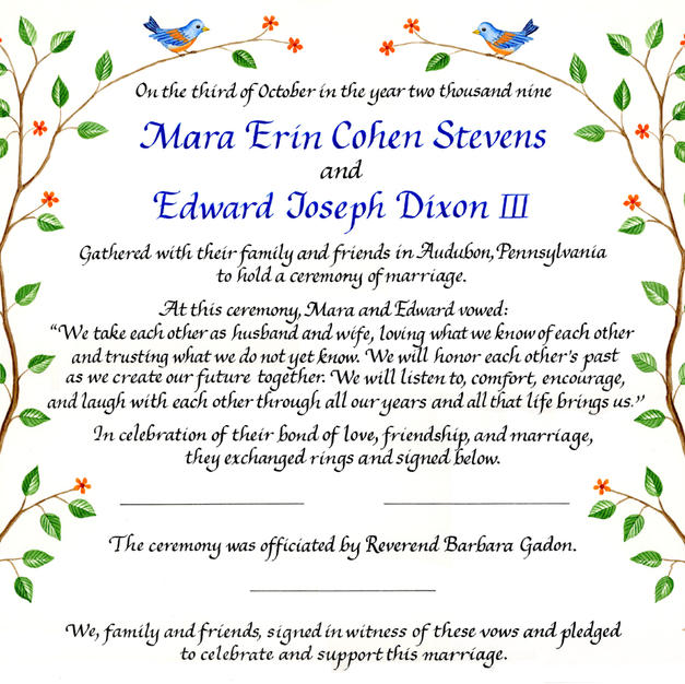 Wedding Certificate with birds and branches