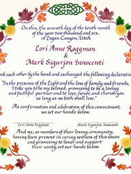 Autumnal Wedding Certificate