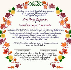 Quaker Wedding Certificate with Autumn leaves