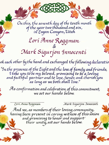 Autumnal Wedding Certificate