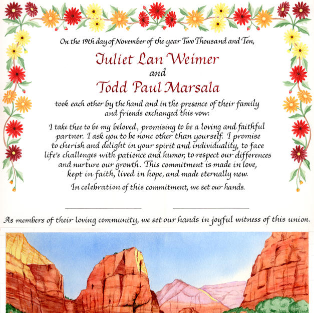 Wedding Certificate with Zion National Park