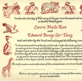 Wedding Certificate with animals based on 17th-century woodcuts