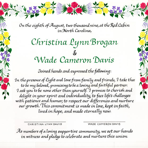 Wedding Certificate with peonies, roses, violets, and lavender