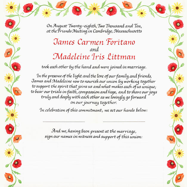 Wedding Certificate with poppies and black-eyed susans