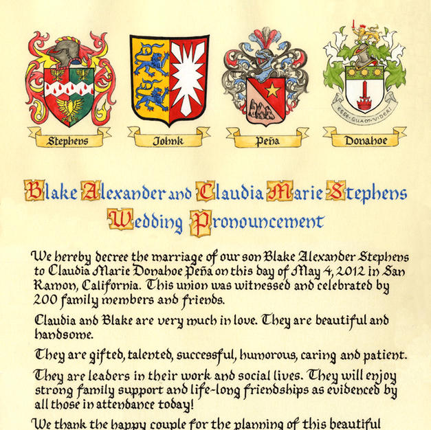 Wedding Announcement with coats of arms