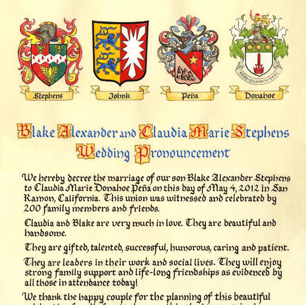 Coat of Arms Wedding Pronouncement
