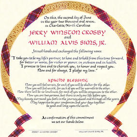 Wedding Certificate with Bruce and Fraser tantans