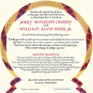 Wedding Certificate with tartan and Celtic knotwork