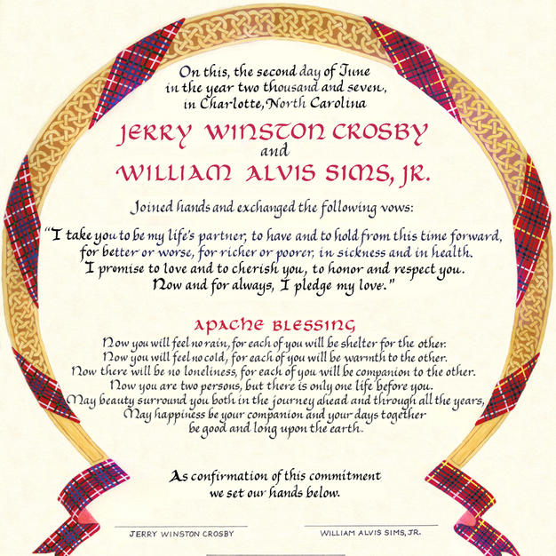 Plaid and Celtic Knotwork Wedding Certificate