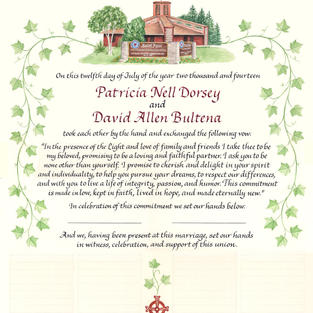 Wedding Certificate with church, cross, and ivy