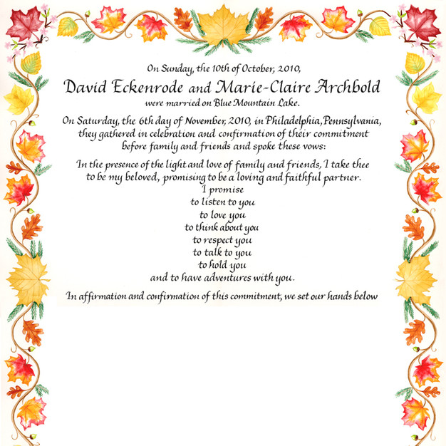 Wedding Certificate with Autumn Leaves