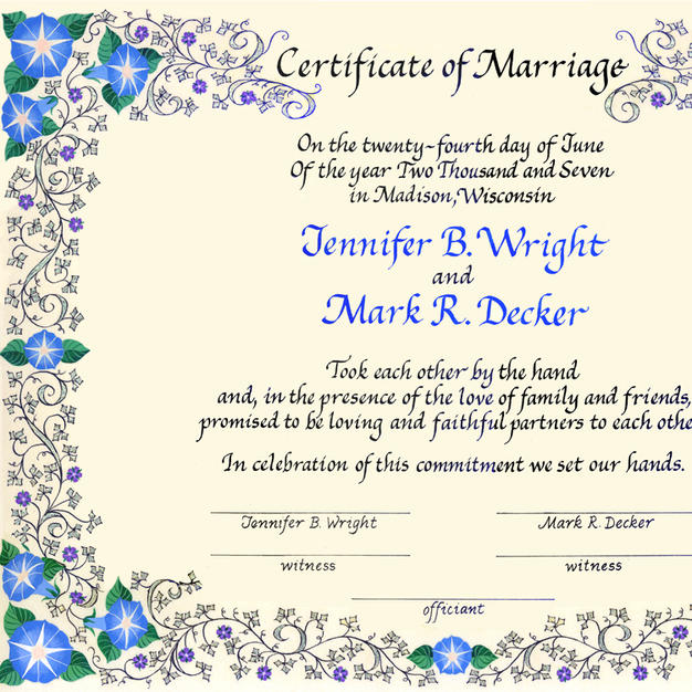 Wedding Certificate with morning glories and Medieval ivy