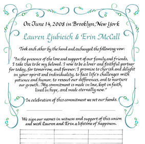 Wedding Certificate with geometric wave-like design