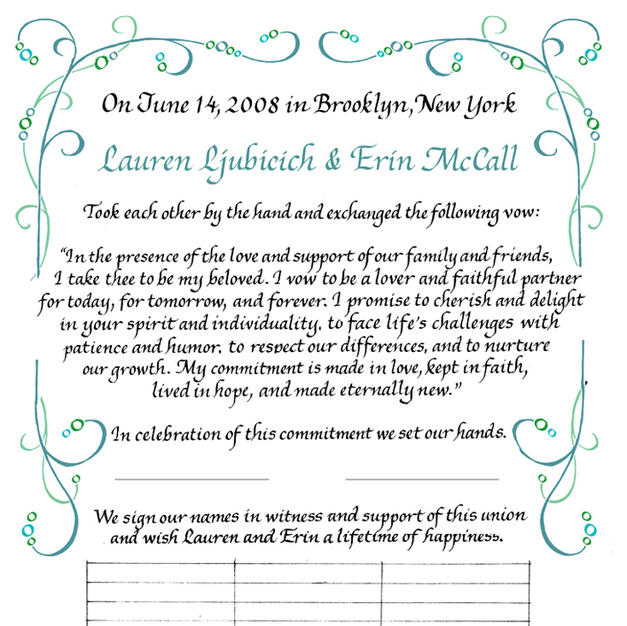 Wedding Certificate with wave-like design