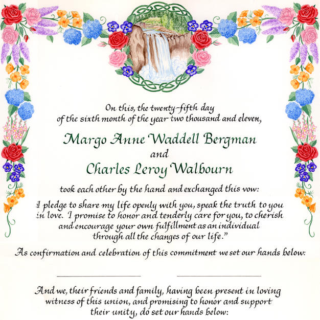 Wedding Certificate with roses, poppies, hydrangea, gladiolus