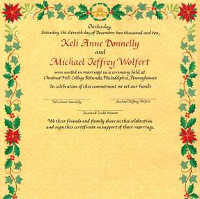 Christmas Wedding Certificate