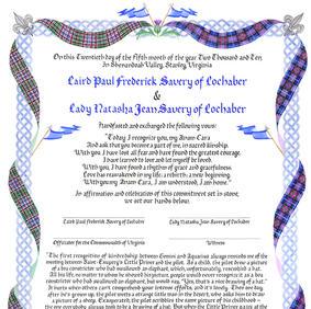 Wedding Certificate with Celtic knotwork, dragons, tartan, Gaelic
