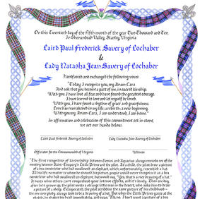 Celtic Knotwork Wedding Certificate with tartan