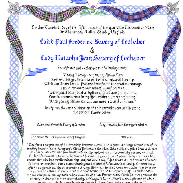 Celtic Knotwork Wedding Certificate with tartan