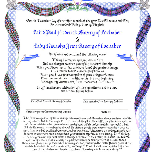 Wedding Certificate with Celtic Knotwork
