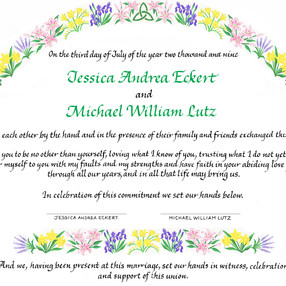 Wedding Certificate with Celtic Knot
