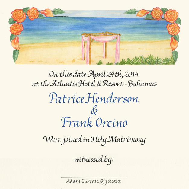 Wedding Certificate with beach in the Bahamas