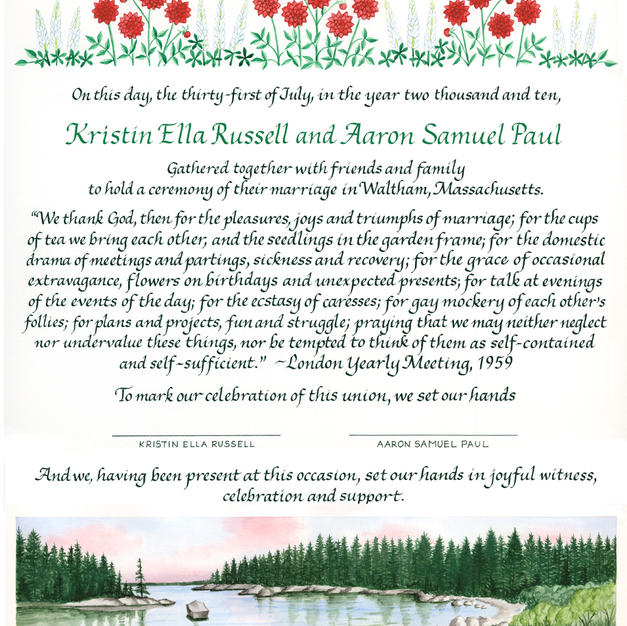 Wedding Certificate with lake