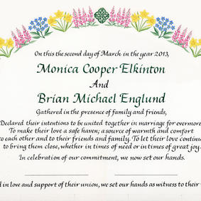 Wedding Certificate with daffodils, forget-me-knots, and fireweed