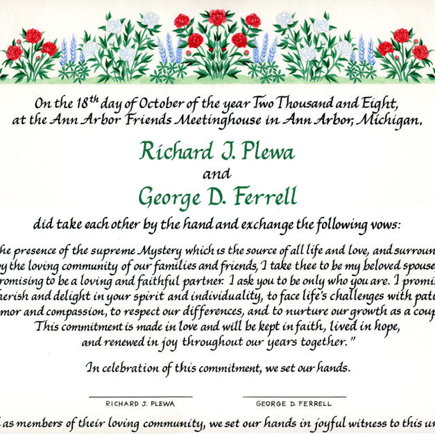 Wedding Certificate with peonies and lupins