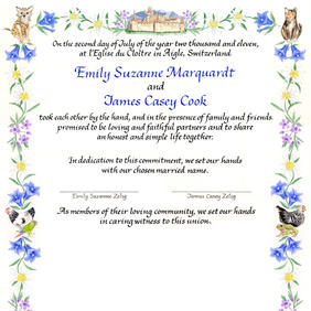 Wedding Certificate with dog, cat, parrot, frog, and chickens