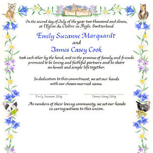Wedding Certificate with pets