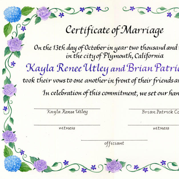 Wedding Certificate with purple roses and hydrangea