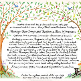 Wedding Certificate with entwined trees