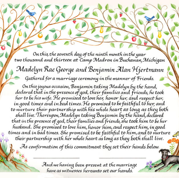 Wedding Certificate with their dog, a rabbit, and turtle