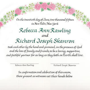 Wedding Certificate with roses and amaranth