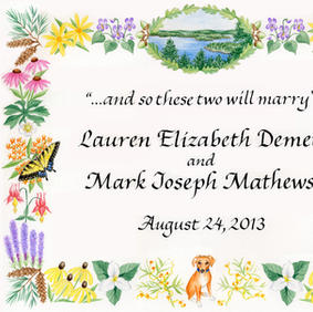 Wedding Announcement with native wildflowers, dog, and butterflies