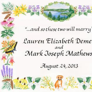 Wedding Announcement with wildflowers