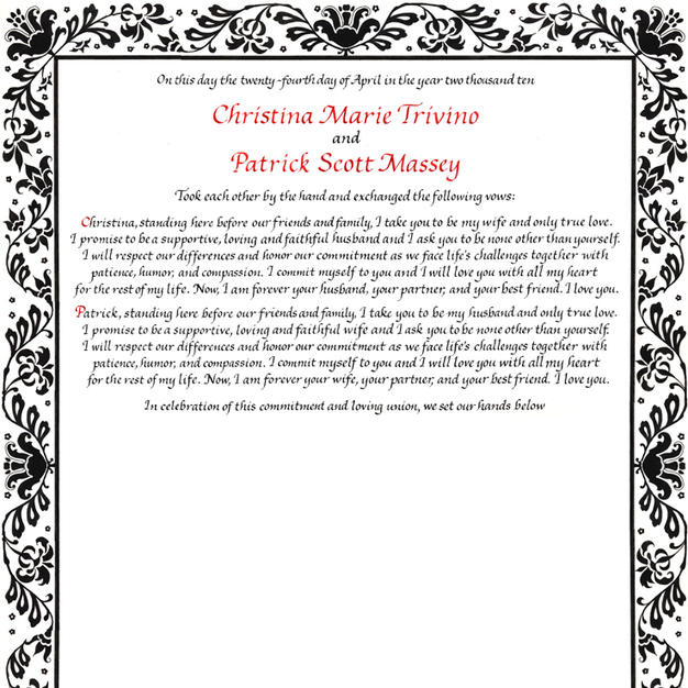 Wedding Certificate with Damask design