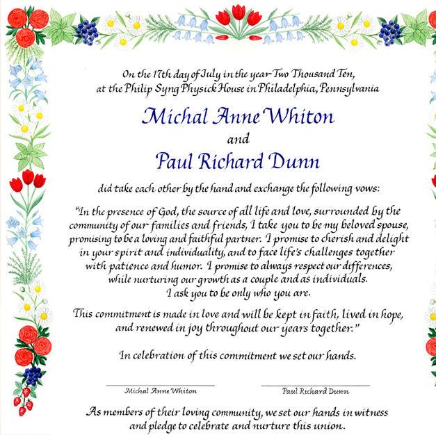 Wedding Certificate with tulips, ranunculus, berries, and bellflowers