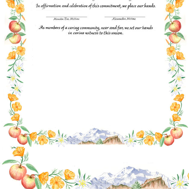 Wedding Certificate with the Swiss Alps