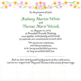Wedding Certificate with pink and orange flowers