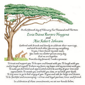 Wedding Certificate with African tree and giraffes