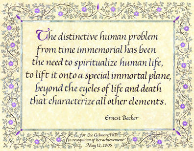 Calligraphy Quote by Ernest Becker