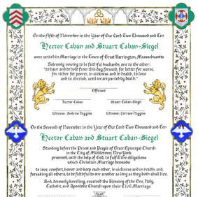 Wedding Certificate with coats of arms, crests, heraldic lions